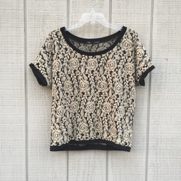 8a3bc4cce5f Maurices Tops - Champagne   black floral lace   mesh blouse